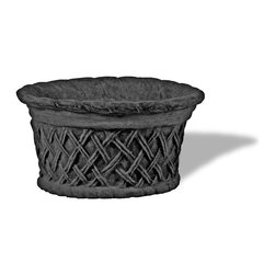 Amedeo Design, LLC - USA - Round Lattice Planter - Amedeo's Round Lattice Planter is an exquisite antiquary piece. Its design is a classical Italianate Basketweave originating back to ancient Roman times. With its helix design decorating the entire piece along with its basket like shape, its a great piece to complement any design. Along with its lightweight and our weatherproof Resin Stone material its so authentic, you actually have to lift these planters to convince yourself they're not stone at all! Made in USA.