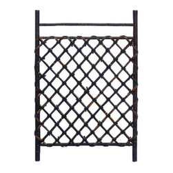 Oriental Furniture - Dark Stained Japanese Style Garden Trellis - An attractive, well crafted bamboo accessory, often used in Japanese style Zen backyard gardens, indoor gardens, as well as outdoor areas, like a wall under an eaves, sheltered from the elements. It's about the same width as an interior door and about three and a half feet tall. It's made from excellent quality kiln dried whole bamboo pole. This is a unique and beautiful trellis, great for creating a barrier in a covered garden or to grow vines. With an attractive, rustic, dark colored bamboo frame and bamboo pole lattice.