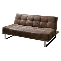 "Uttermost - Delvin Futon - Versatile in style and use, this convertible sofa captures the look and feel of softened leather in durable polyester on a wooden foundation with modern and sleek chrome legs. Comfortable, firm cushion support whether upright or reclined flat. Seat height is 16.5"" and seat depth is 21""."