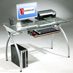 None - Tempered Glass-top Steel Frame Computer Desk - Add some functionality to any home office with this steel computer desk with a tempered glass work surface. Featuring a keyboard tray and one fixed shelf, this efficient workstation will help keep you better organized throughout the day.