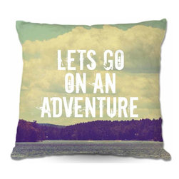 DiaNoche Designs - Pillow Woven Poplin - Lets Go On an Adventure - Toss this decorative pillow on any bed, sofa or chair, and add personality to your chic and stylish decor. Lay your head against your new art and relax! Made of woven Poly-Poplin.  Includes a cushy supportive pillow insert, zipped inside. Dye Sublimation printing adheres the ink to the material for long life and durability. Double Sided Print, Machine Washable, Product may vary slightly from image.