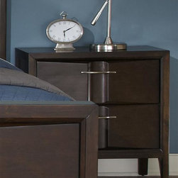 Liberty Furniture - Liberty Furniture Arterra Night Stand in Java Finish - Arterra brings together contemporary design with crisp clean lines and unique textures.  Vacuum formed drawer fronts allow for a concave center in the drawer fronts that is accented by satin nickel bar pull hardware.  A java finish adds to the contemporary flair of the group.Collection Features: Full Extension Metal Side Drawer GlidesFrench & English Dovetail ConstructionBottom Case Dust ProofingFully Stained Interior DrawersFelt Lined Top DrawersStraight Line CasesRaised Tapered FeetVacuum Formed Drawer FrontsConcave Center SectionsPVC Uphostered HeadboardNight Stand Creates Low Profile Wall BedSatin Nickel Bar Pull HardwareBeveled  Mirrored Glass