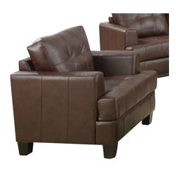 "Coaster - Chair (Dark Brown) By Coaster - The Samuel collection offers style and comfort with its clean lines and attached seat cushions. The only way to truly appreciate this collection is to sit and experience it.Bonded leather material. Dims: 42"" X 38"" X 36"". Matching pieces available separately."