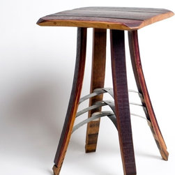 Occasional Table by Walsworth Furnishings - This unique accent table is handmade in Idaho and combines the warm wood from wine barrels and a metal detail. It will add rustic chic style to your bedroom as a nightstand or your great room as a side table.