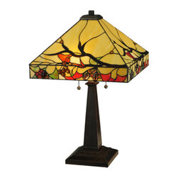 """Meyda - 25""""H Woodland Berries Table Lamp - This classic american arts and  crafts design is definedby beige art glass highlighted with bark brown treebranches that are almost bare after shedding theirfoliage of leaves in green, red and orange, which areaccented with burgundy swirl and gold glass jeweledberries. Authentic art glass pieces were set into thefinely detailed design and copperfoiled using meyda'sfamous construction process. The base is classic arts and crafts finished in a rich mahogany bronze. Bulb type: med bulb quantity: 2 bulb wattage: 60"""