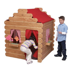 Little Colorado - Log Cabin Play House - The Log Cabin Play House is the ultimate invention for creative play. Children ages two to six will love playing pretend in their own child-size house. This rustic all wood cabin is strong and sturdy and finished with a non-toxic Danish oil. The wide window in the back makes this house well suited to be a pretend store, lunch counter, or anything a child can imagine! With the curtains closed, it becomes a large puppet theater. All the curtains and roof are attached with VelcroTM for infinite adjustment, removal or ease in adding your own d cor. Solid knotty pine construction, available unfinished or in easy-to-clean natural lacquer finish. Features: -Shown above in natural.-Rear wall has a large window with shelf.-All curtains and roof attached with Velcro for adjustment or removal.-Four interlocking wall panels.-Wood surfaces may be painted with regular paint or wall papered for customization.-Indoor use only.-Solid knotty pine construction.-Sanded and unfinished for those looking to show off their artistic talents.-Top quality, non-toxic, environmentally friendly and easy-to-clean acrylic finish.-Distressed: No.Dimensions: -58'' H x 48'' W x 52'' D, 80 lbs.-Overall Height - Top to Bottom: 58.-Overall Width - Side to Side: 58.-Overall Depth - Front to Back: 52.-Overall Product Weight: 80 lbs.