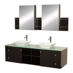 "Wyndham - Avara 72"" Wall-Mounted Double Bathroom Vanity Set - Espresso - Make a statement with the Avara double vanity, and add a twist of the transitional to an otherwise modern classic.; The Avara is the perfect centerpiece to any master bathroom suite, featuring Blum soft close hinges and Blum soft close drawer guides. You'll never hear a door or drawer slam shut again!; Espresso Finish; Counter: Green Glass; Includes white porcelain sink; Includes drain assemblies and P-traps for easy assembly; Includes medicine cabinet mirrors and side shelves; Faucets not included; Dimensions: Vanity 72 x 22-1/4 x 24.5 (including sink); Side Shelves 8-3/4 x 5 x 12; Medic Cab Mirrors 21 x 5-3/4 x 30"