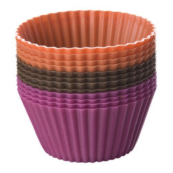 Chicago Metallic - Chicago Metallic Baking Essentials Silicone Baking Cups set of 12 - Pretty, colorful and reusable — what a concept! You'll be baking and serving cupcakes and muffins galore with these baking cups — heat resistant up to 500 degrees.