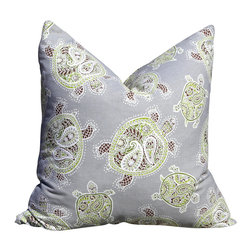 PillowFever - Cotton Pillow Cover with Turtle Print in Fossil  Nautical Pillow Cover - Pillow insert is not included!