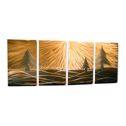 Miles Shay - Metal Wall Art Decor Abstract Contemporary Modern Sculpture Hanging -  3 Pines - This piece is gold and silver. Any other visible color is a reflection of objects in the room.