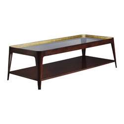 Shadow Coffee Table - Baker Furniture - A chic and modern form that speaks to shadow and light-play. Canted walnut tapered legs rise to embrace a coved band that supports a bronze glass top. The inside cove is available hand-burnished to a gleaming gold or silver (3654G, shown here in gold) that plays against the deep rich walnut finish.