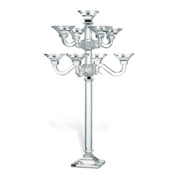 Kathy Kuo Home - Layla Hollywood Regency Crystal 9 Arm Grand Candelabra - Add drama to your next dinner party with this candelabra. The nine-arm mirrored centerpiece, crafted from solid crystal, is an extra wattage showstopper. It may even overshadow your menu!