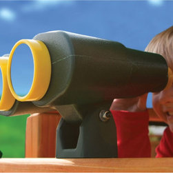 Gorilla Playsets Jumbo Binoculars - Bird-watching, spying on the neighbors, or keeping a look-out for pirates - no matter what your kids decide to watch for, these jumbo binoculars will make it more fun. A great addition to any play set, the binoculars can be easily attached to any rail with the included hardware and mounting bracket. With a tilting up and down motion, green color with the bright yellow trim, and the clear plastic lenses at each end, this accessory is not only fun but looks cool too.