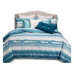 SIS Covers - SIS Covers Beach Bum Duvet Set - 5 Piece Twin Duvet Set - A distressed varied stripe pattern in shades of blue and White