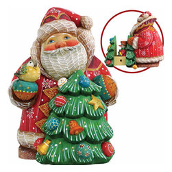 "Artistic Wood Carved Santa Claus with Christmas Tree Sculpture - Measures 5""H x 5""L x 4""W and weighs 1 lb. G. DeBrekht fine art traditional, vintage style sculpted figures are delightful and imaginative. Each figurine is artistically hand-painted with detailed scenes including classic Christmas art, winter wonderlands and the true meaning of Christmas, nativity art. In the spirit of giving G.DeBrekht holiday decor makes beautiful collectible Christmas and holiday gifts to share with loved ones. Every G. DeBrekht holiday decoration is an original work of art sure to be cherished as a family tradition and treasured by future generations. Some items may have slight variations of the decoration on the decor due to the hand painted nature of the product. Decorating your home for Christmas is a special time for families. With G. DeBrekht holiday home decor and decorations you can choose your style and create a true holiday gallery of art for your family to enjoy."