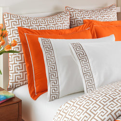 "Jill Rosenwald - Jill Rosenwald Jills Key Euro Pillow Sham - Global-inspired flair meets vibrant color in the Jill Rosenwald Jills Key pillow sham. Accented by orange piping, a taupe and white Greek key print delivers mod glam. 26""W x 26""H"