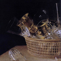 """Sebastien Stoskopff Still-Life of Glasses in a Basket (detail) Print - 16"""" x 20"""" Sebastien Stoskopff Still-Life of Glasses in a Basket (detail) premium archival print reproduced to meet museum quality standards. Our museum quality archival prints are produced using high-precision print technology for a more accurate reproduction printed on high quality, heavyweight matte presentation paper with fade-resistant, archival inks. Our progressive business model allows us to offer works of art to you at the best wholesale pricing, significantly less than art gallery prices, affordable to all. This line of artwork is produced with extra white border space (if you choose to have it framed, for your framer to work with to frame properly or utilize a larger mat and/or frame).  We present a comprehensive collection of exceptional art reproductions bySebastien Stoskopff."""