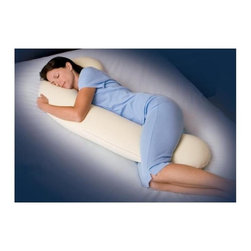 Snoozer Body Pillows - Snoozerpedic DreamWeaver Full Body Pillow in Ivory and Cream - Promotes proper spinal alignment. Enhances muscular relaxation. Promotes healthier circulation. Reduces head, neck and back strain. Reduces pillow repositioning. Arthritis and fibromyalgia relief. Ideal pregnancy support. Excellent nursing pillow. Great for reading or watching TV. Made from Coolbreathe 3 lbs memory foam. 66 in. L x 14 in. W x 5 in. H (7 lbs.)The Snoozerpedic DreamWeaver is the world's first ergonomically designed full body pillow made out of luxurious high quality memory foam. Similar to our Snoozer brand DreamWeaver it combines the support of 3 pillows in one unique design and supports all sleeping positions. This dual patented pillow is made out of CoolBreathe memory foam to ensure maximum molding and heat dispersion qualities. The memory foam core is then encased in a premium quality velour cover to ensure years of lasting enjoyment. Each pillow also comes with a luxuriously soft 500 thread count Mercerized pure sateen cotton pillowcase in an ivory color that's removable for easy washing.