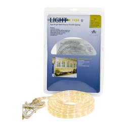 American Lighting - 50-foot Commercial Grade Rope Light Kit - 042-CL-50 - This commercial grade rope light kit comes complete with 50 feet of clear rope light, a 6-foot power cord and one clip per foot of rope light. The rope features 6.5-volt bulbs with 1.09-inch spacing between each. There are 5 watts per foot. It is linkable up to 150 feet. Rope lights are versatile and suited for many lighting situations. They are commonly positioned in coves and below cabinets, and can also add to the atmosphere of a bar or game room. Takes (1) 250-watt incandescent bulb(s). Bulb(s) sold separately. UL listed. Damp location rated.