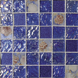 """Rhapsody In Blue. 2"""" X 2"""" Glass And Sea Shell Mosaic, By The Sheet - SOLD BY THE SHEETS"""