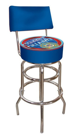 Trademark Global - United States Coast Guard Padded Bar Stool w - Chrome plated double rung base. Adjustable levelers. Commercial grade vinyl seat. Long lasting high gloss logo. Backrest for added comfort. Great for bar pub table and bars. Padded seat: 14.75 in. Dia. x 7.5 in. H. 30 in. H bar stool. Overall dimensions: 40 in. L x 15 in. W x 15 in. H (24 lbs.)This United States Coast Guard Stool with Backrest will be the highlight of your bar and game room. Great for gifts and recreation decor.