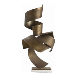 Arteriors - Henley Sculpture - Who knew a metal as durable and tough as brass could be so fluid? One look at this sculpture will confirm it. You can let these beautifully graceful ribbons of brass fall where they will; your decor will feel all the lighter for it.