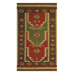 Rugsville - Rugsville Rug Southwestern 13611-58 Red Green - There are some abstract patterns that will go well along your modern home decor. You may even want to get some of these carpets for your living room and spacious places. There are different choices in colors, sizes and shapes as well. 100% Natural wooland Jute. Extremely durable for high traffic areas. Meticulously woven flat-weave rug handmade in India. Made by skilled artisans in the villages of North Central India with careful attention given to the pattern detailing.