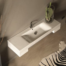"""WS Bath Collections Cento 3535 Wall Hung or Counter Top Ceramic Sink 55.1"""" x 17."""