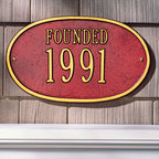 "Oval ""Founded"" Plaque - Simple and prestigious, this plaque is a novel way to celebrate a new home or business or to indicate historic status. A classy addition to any exterior, high quality aluminum and weather resistant paint make this a long lasting, worthy investment."