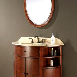 """Avanity Corporation - 38 in. Vanity w Creme Marble Top/Undermount S - Add both elegance and style to any bathroom with this stunning vanity set, highlighted by graceful oval design elements and both open and closed storage. The vanity has a creme marble top with an undermount sink and will provide you with years of lasting beauty. Set includes Vanity w Creme Marble Top, Undermount Sink, and 25 in. Mirror. Dark Oak finish over birch solid wood and walnut veneers. Creme Marble top and backsplash with standard 8"""" widespread faucet cutout. White Vitreous China undermount sink. Soft-close door hinges. Faucet not included. Vanity: 39 in. W x 22 in. D x 34.8 in. H. Mirror: 25 in. W x 1.4 in. D x 33.5 in. H"""