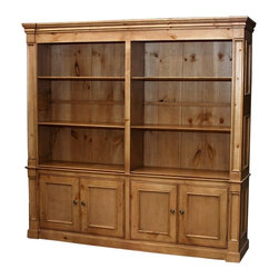 British Traditions - Country Double-Wide Bookcase w 6 Shelves (English Pine Light) - Finish: English Pine Light. Each finish is hand painted and actual finish color may differ from those show for this product. Country double-wide bookcase. Ships in one wide piece. Interior size on either side: 27 in. W x 14 in. D x 47 in. H top, 23.25 in. base. Base does not come with shelves. 82 in. W x 17.5 in. D x 82 in. H (270 lbs.)This is our 802 London bookcase, built as two units in one.