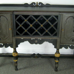 Hand Painted and Embellished Custom Wine Cabinet FOR SALE - Hand Painted and Embellished Custom Wine Cabinet