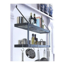 Rogar - Double Bookshelf Potrack (Black/Chrome) - Finish: Black/ChromeAmazing storage potential, double the storage w 2 shelves. Can be used in kitchen, home office, laundry, garage, kid's room. etc. Includes 6 Eye and 2 Grid Hooks. 35 in. L x 8.5 in. W x 24 in. H (20 lbs.)