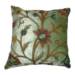 Crewel Fabric World - Crewel Pillow Tree of Life Pistachio Rayon Velvet 16x16 Inches - Artisans in a remote mountain village in Kashmir crewel stitch these blossoms, vines and leaves by hand, resulting in a lush pattern of richly shaded wool yarns on Linen, Cotton, Velvet, Silk Organza, Jute. Also backed in natural linen, Cotton, Velvet Silk Organza, Jute with a hidden zipper.