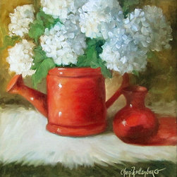 """Red Watering Pitcher White Snowball Flowers Still Life Painting"" (Original) By - Red Is Exciting!  This 12X12 Still Life Painting Features A Red Watering Pitcher, A Small Red Vase, And A Bouquet Of White Snowball Flowers."