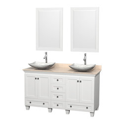 """Wyndham Collection - 60"""" Acclaim White Double Vanity w/ Ivory Marble Top & White Carrera Marble Sink - Sublimely linking traditional and modern design aesthetics, and part of the exclusive Wyndham Collection Designer Series by Christopher Grubb, the Acclaim Vanity is at home in almost every bathroom decor. This solid oak vanity blends the simple lines of traditional design with modern elements like beautiful overmount sinks and brushed chrome hardware, resulting in a timeless piece of bathroom furniture. The Acclaim comes with a White Carrera or Ivory marble counter, a choice of sinks, and matching mirrors. Featuring soft close door hinges and drawer glides, you'll never hear a noisy door again! Meticulously finished with brushed chrome hardware, the attention to detail on this beautiful vanity is second to none and is sure to be envy of your friends and neighbors"""