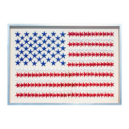 Kathy Kuo Home - American Flag Coastal Starfish Silver Framed Wall Decor - L - by Karen Robertson - Let those stars and stripes wave. A new take on Old Glory, this colored sea star arrangement will bring patriotic spirit and a nautical mood to your home. Hang it above your crisp white sofa and embrace classic American taste in an original way.