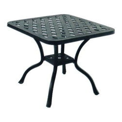 Darlee - Darlee Series 30 Patio End Table - This Series 30 Darlee end table features elegant styling and distinctive accents, hallmarks of quality patio furniture. The cast aluminum frame weighs less than wrought iron, and is naturally rust resistant. The antique bronze finish is powder coated, making it tougher than conventional paint finishes, and it complements a large selection of patio collections for complete design coordination.