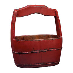 Antique Revival - Red Vintage Shanghai Bucket - This multi-purpose vintage wooden bucket features a sturdy handle and refinished exterior. The distressed finish includes bright red paint and a natural wood interior. This bucket looks great on its own, or can be used to display flowers.