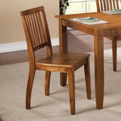 Steve Silver Candice Slat Back Side Chair in Oak [Set of 2]