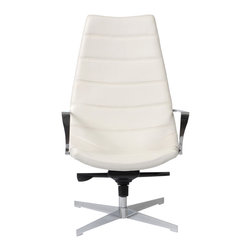 Euro Style - Domino Lounge Chair - White/Chrome - Both the chair and the ottoman include easy-on-the-back gas lifts and steel frames. But it's the shape and texture that really set them apart. The chair is very generous in the seat for added comfort, and the horizontally stitched seams offer a tailored look. If you'd like to feel as relaxed as you are in charge, buy the pair. Good things start to happen!