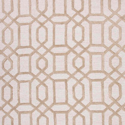 Jaipur Rugs - Hand-Tufted Geometric Pattern Wool/ Art Silk Ivory/Taupe Area Rug - Over scaled sharp geometrics characterize this striking contemporary range of  hand tufted rugs. The high/low construction in wool and art silk creates texture and surface interest and gives a look of matt and shine. Origin: India