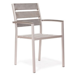 ZUO Modern - Metropolitan Slated Arm Dining Chair in Brushed Aluminum - 701864 - Metropolitan Collection Chair