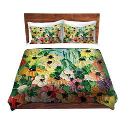 DiaNoche Designs - Duvet Cover Twill - Wildflowers II - Lightweight and super soft brushed twill Duvet Cover sizes Twin, Queen, King.  This duvet is designed to wash upon arrival for maximum softness.   Each duvet starts by looming the fabric and cutting to the size ordered.  The Image is printed and your Duvet Cover is meticulously sewn together with ties in each corner and a concealed zip closure.  All in the USA!!  Poly top with a Cotton Poly underside.  Dye Sublimation printing permanently adheres the ink to the material for long life and durability. Printed top, cream colored bottom, Machine Washable, Product may vary slightly from image.
