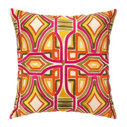 Trina Turk - Trina Turk Del Mar Pillow-Persimmon - The Persimmon Del Mar Pillow by Trina Turk is part of a line infused with bold signature prints and unique dynamic hues, Trina's modern and optimistic outlook meld the best of classic American design with a California confidence, incorporating beautiful fabrications and impeccable quality for the effortless elan and carefree glamour.