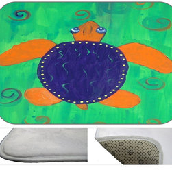 """usa - Funky Turtle Bath Mat,  20"""" X 15"""" - Bath mats from my original art and designs. Super soft plush fabric with a non skid backing. Eco friendly water base dyes that will not fade or alter the texture of the fabric. Washable 100 % polyester and mold resistant. Great for the bath room or anywhere in the home. At 1/2 inch thick our mats are softer and more plush than the typical comfort mats. Your toes will love you."""