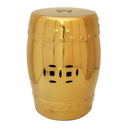 18-inch Lacquered Porcelain Garden Stool, Solid Gold - Garden stools are so versatile: They can be used as side tables or extra seating. This one's gold finish is very shiny and chic.