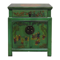Golden Lotus - Chinese Green End Table with Kids Playing Graphic - This is a side table / nightstand with rustic vintage green lacquer finish. A colorful scenery of Asian kids playing is drawn on the door, drawer and top. Kids and others position is different for each table.