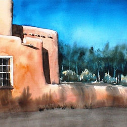 Bosque Evening - Original Watercolor Painting - Bosque is the Spanish term for the riverside environment of cottonwoods and willows. It is what makes the Rio Grande in New Mexico so special.