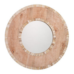 """Jamie Young Company - Accent Jamie Young Mandalay 24"""" Round Wall Mirror - Natural wood and white bone construction creates a stunning mirror design in this beautiful style. The round wood frame is surrounded by white bone tile in slightly different colors for added depth. Perfect for a living room or entry way. Round wall mirror. White bone and natural wood construction. Camel bone construction. Tile border surrounding the frame and mirror. Keyhole hangers. 24"""" round. 1"""" deep. Glass is 12"""" round. Glass is 1/2"""" deep. Hang weight is 10 Lbs.   Round wall mirror.  White bone and natural wood construction.  Camel bone construction.  Tile border surrounding the frame and mirror.  Keyhole hangers.  24"""" round.  1"""" deep.  Glass is 12"""" round.  Glass is 1/2"""" deep.  Hang weight is 10 Lbs."""